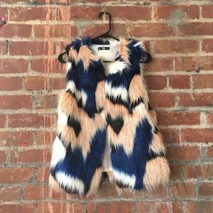 Colorful faux fur vest with pockets